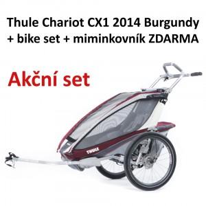 Thule Chariot CX1 2014 Burgundy + bike set + miminkovník ZDARMA
