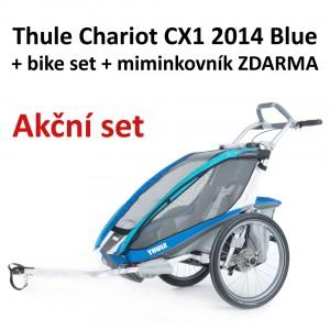Thule Chariot CX1 2014 Blue + bike set + miminkovník ZDARMA