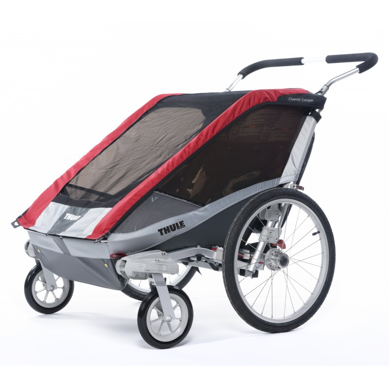 thule chariot cougar 2 2014 red bike set. Black Bedroom Furniture Sets. Home Design Ideas