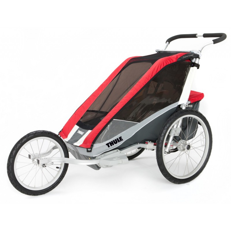 thule chariot cougar 1 2014 red bike set. Black Bedroom Furniture Sets. Home Design Ideas