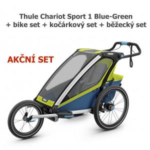 Thule Chariot Sport 1 Blue-Green + bike set + kočárkový set + běžecký set