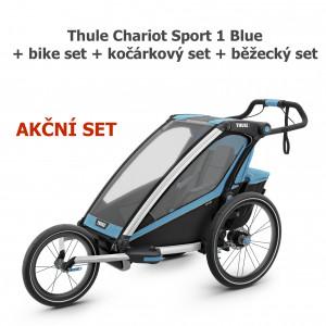 Thule Chariot Sport 1 Blue + bike set + kočárkový set + běžecký set